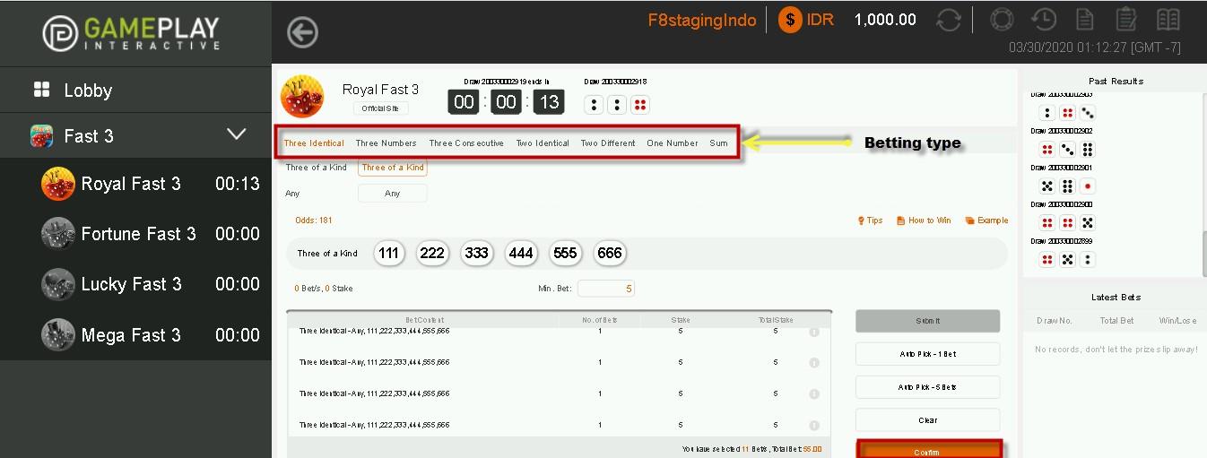 tampilan lotre online fast3